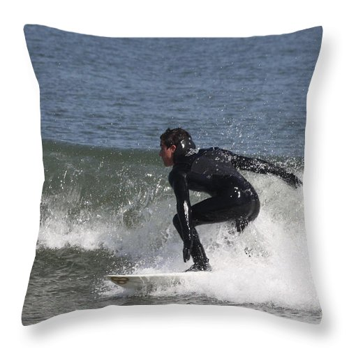 Surfer Hitting The Curl Throw Pillow featuring the photograph Surfer Hitting The Curl by John Telfer