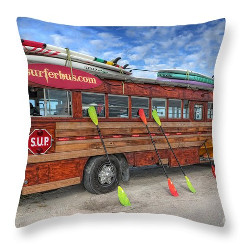 Surferbus Throw Pillow featuring the photograph Surferbus by David B Kawchak Custom Classic Photography