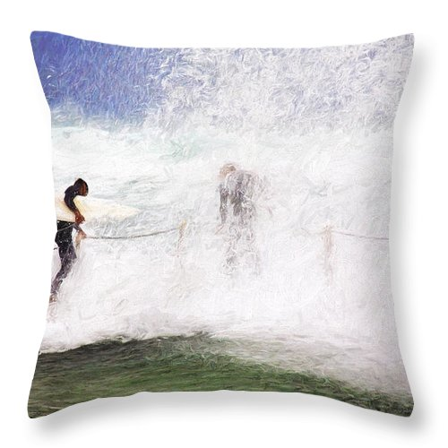 Surf Throw Pillow featuring the photograph Surfers at rockpool by Sheila Smart Fine Art Photography