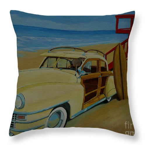 Woody Throw Pillow featuring the painting Surfers Woody by Anthony Dunphy