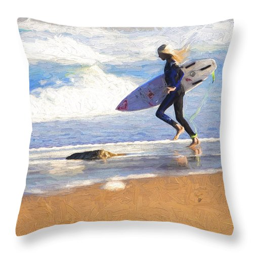 Surfer Throw Pillow featuring the photograph Surfing girl by Sheila Smart Fine Art Photography