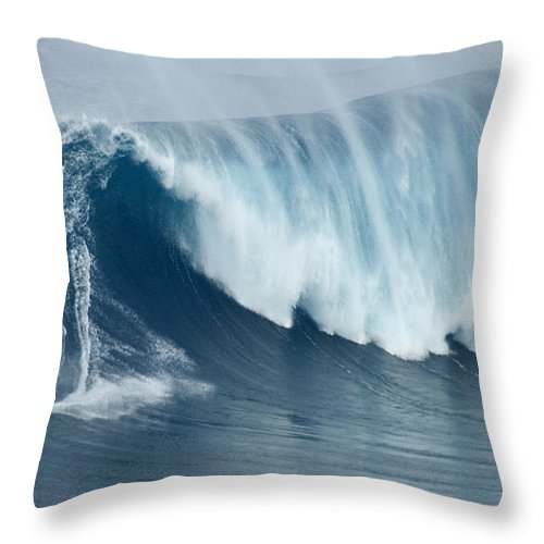Surf Throw Pillow featuring the photograph Surfing Jaws 5 by Bob Christopher