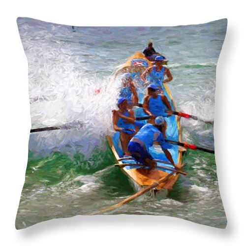 Surfer Throw Pillow featuring the photograph Surfing lifesaving boat by Sheila Smart Fine Art Photography