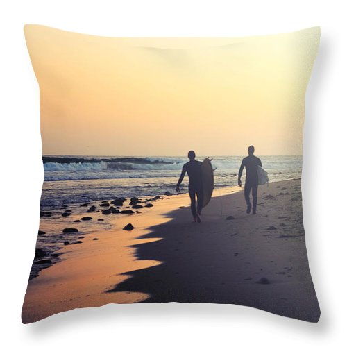 Water's Edge Throw Pillow featuring the photograph Surfing Rincon Point Surfers Beach by Amparo E. Rios
