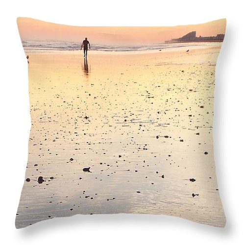Surfing Throw Pillow featuring the photograph Surfing Sunset by Eric Schiabor