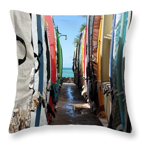 Surf Throw Pillow featuring the photograph Surf's Up by Pat Purdy