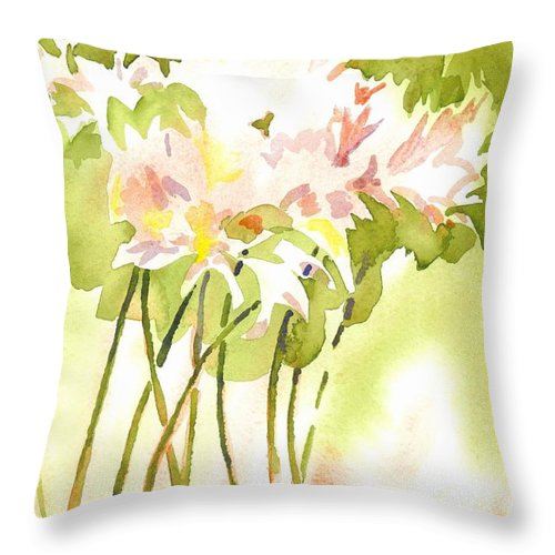 Surprise Lilies Iii A Portrait Throw Pillow featuring the painting Surprise Lilies IIi A Portrait by Kip DeVore