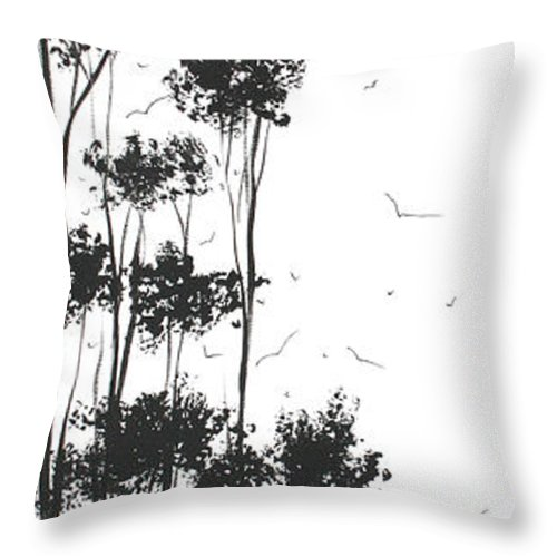 Abstract Throw Pillow featuring the painting Surreal Abstract Landscape Art Painting By Madart by Megan Duncanson