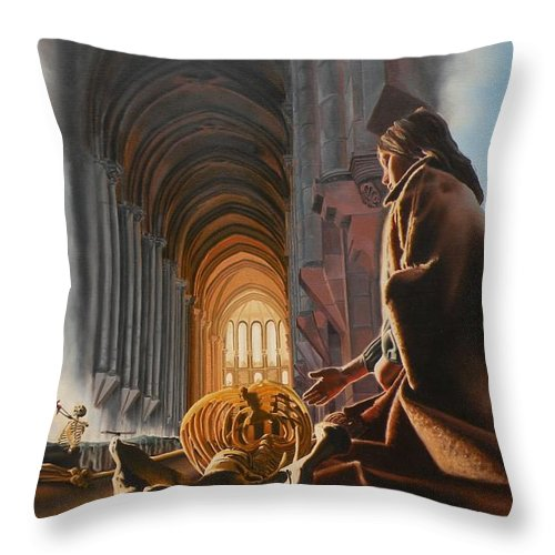 Surreal Throw Pillow featuring the painting Surreal Cathedral by Dave Martsolf
