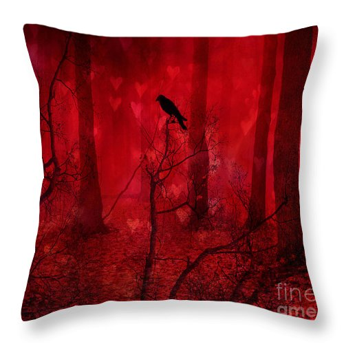 Raven Crow Art Throw Pillow featuring the photograph Surreal Fantasy Gothic Red Woodlands Raven Trees by Kathy Fornal