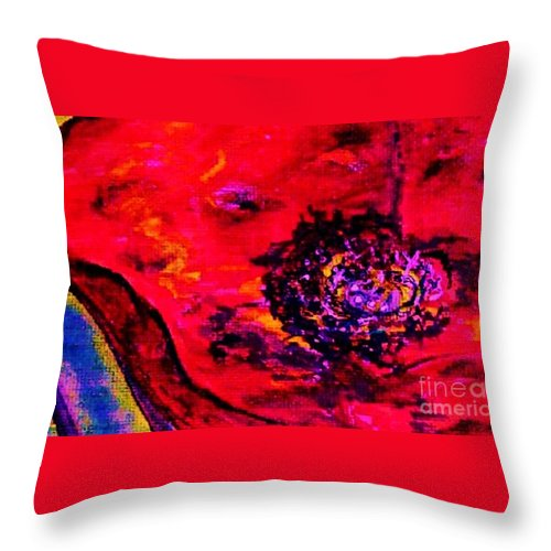 Eloise Throw Pillow featuring the painting Surreal Poppy . . . Woman Breaks Out by Eloise Schneider Mote
