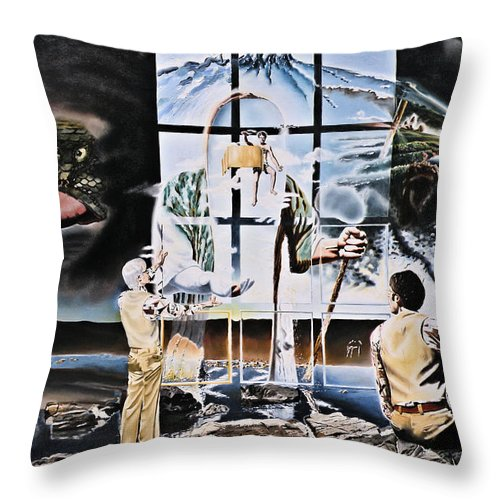 Surreal Throw Pillow featuring the painting Surreal Windows Of Allegory by Dave Martsolf