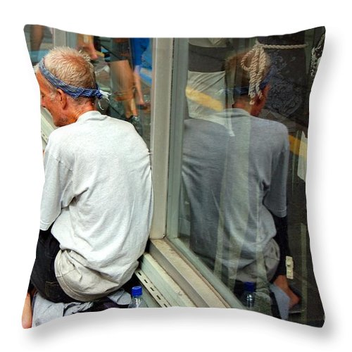 Street Person Throw Pillow featuring the photograph Surviving by Debbi Granruth