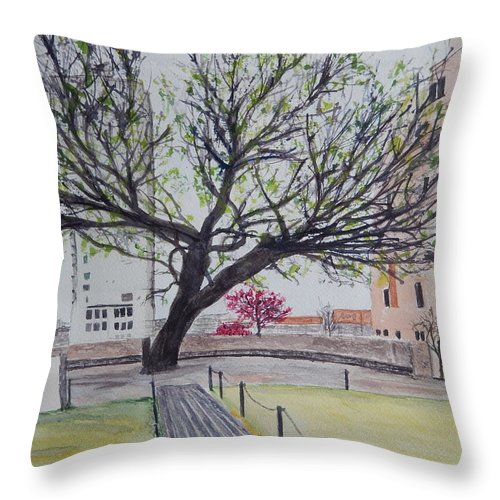 American Elm Tree Throw Pillow featuring the painting Survivor Tree by Betty-Anne McDonald