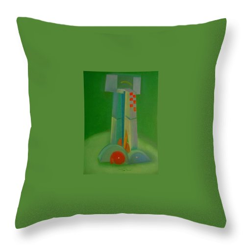 Cubist View Of Figure Throw Pillow featuring the painting Survivors by Charles Stuart