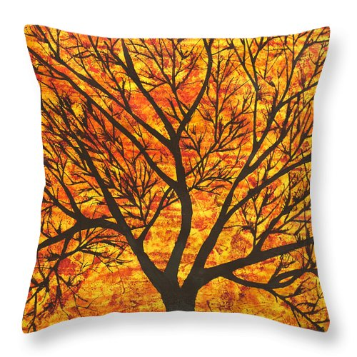 Tree Throw Pillow featuring the painting Suryavriksh by Sumit Mehndiratta