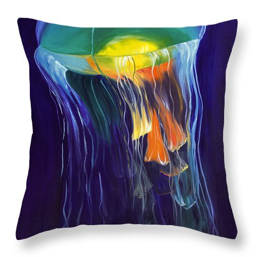 Canvas Art Throw Pillow featuring the painting Suspended by Christine Baeza