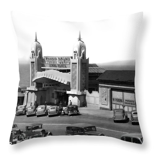 Adolph Throw Pillow featuring the photograph Sutro Baths Entrance San Francisco California Circa 1948 by California Views Archives Mr Pat Hathaway Archives
