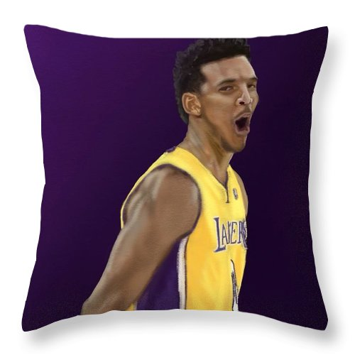 Nick Young Throw Pillow featuring the digital art Swaggy P by Jeremy Nash