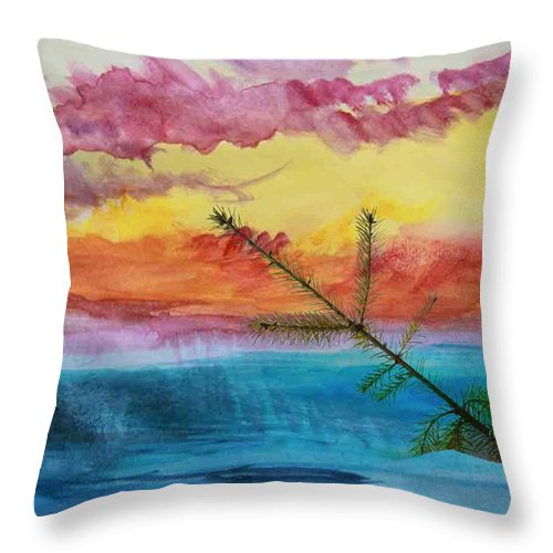 Painting Throw Pillow featuring the painting Swallowed By The Sea by Mountain Dreams