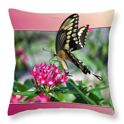 Butterfly Throw Pillow featuring the digital art Swallowtail Butterfly 02 by Thomas Woolworth