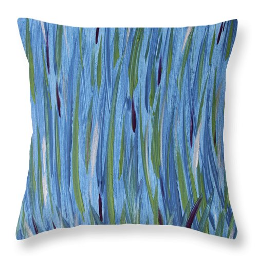 Abstract Throw Pillow featuring the painting Swamp Grass by Laura Lane