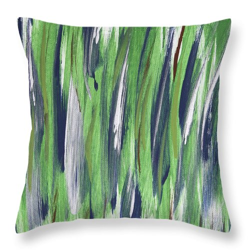 Abstract Throw Pillow featuring the painting Swamp by Laura Lane