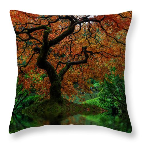 Swamped Japanese Maple Throw Pillow featuring the photograph Swamped Japanese by Wes and Dotty Weber