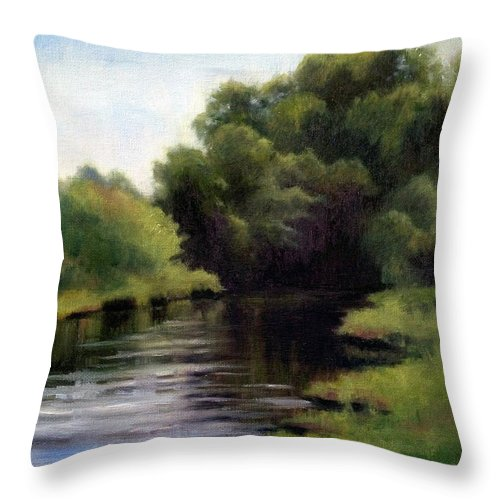 Swan Creek In Hickman County Throw Pillow featuring the painting Swan Creek by Janet King