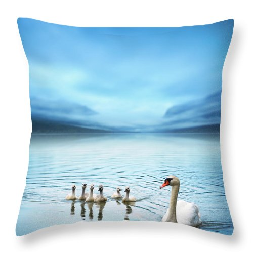 Scenics Throw Pillow featuring the photograph Swan Family On The Lake by Borchee