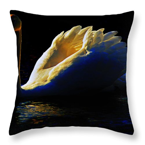 Swan Throw Pillow featuring the photograph Swan In Golden Light by Hal Halli