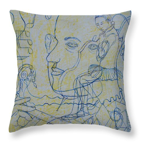 Johnpowellpaintings Throw Pillow featuring the drawing Swan Lake by John Powell