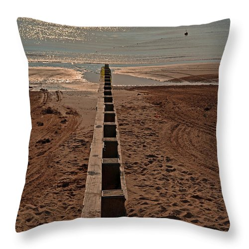 Seascape Throw Pillow featuring the photograph Swanage Bay Breakwater by Linsey Williams