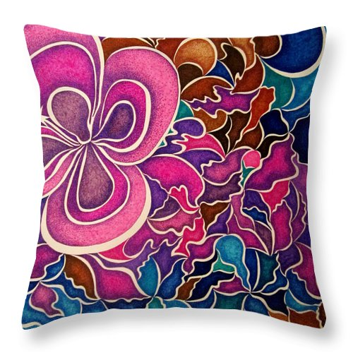 Abstract Throw Pillow featuring the drawing Sweet Assurance by Kathleen Allen