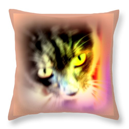 Cat Throw Pillow featuring the photograph The Sweet Hunter With The Yellow Eyes by Hilde Widerberg