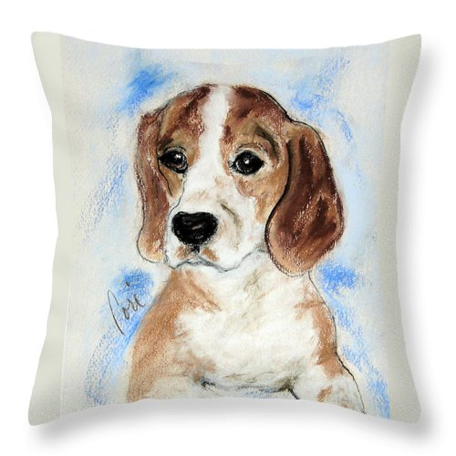 Dog Throw Pillow featuring the drawing Sweet Innocence by Cori Solomon