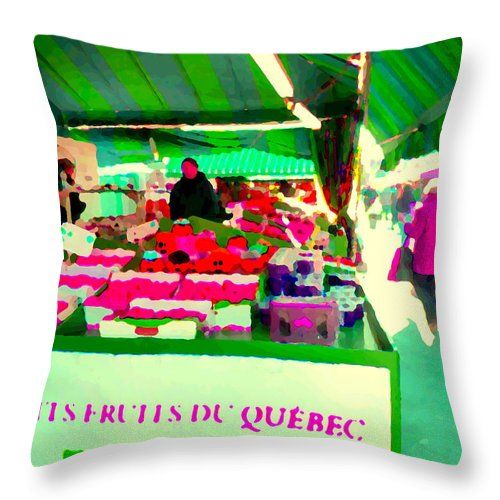 Markets Throw Pillow featuring the painting Sweet Ripe Strawberries Petits Fruits Du Quebec Direct From Farmers Market Food Art Carole Spandau by Carole Spandau