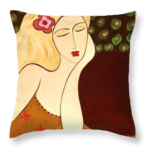 #female Throw Pillow featuring the painting Sweet Sixteen by Jacquelinemari