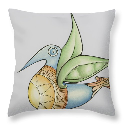 Bird Throw Pillow featuring the mixed media Sweetpea by Susan A Grainger