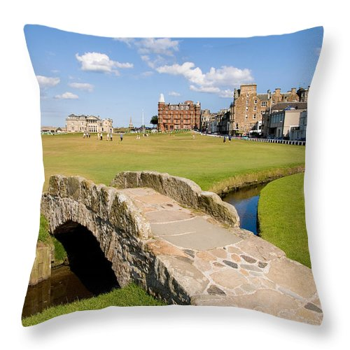 Golf Throw Pillow featuring the photograph Swilcan Bridge On The 18th Hole At St Andrews Old Golf Course Scotland by Unknown