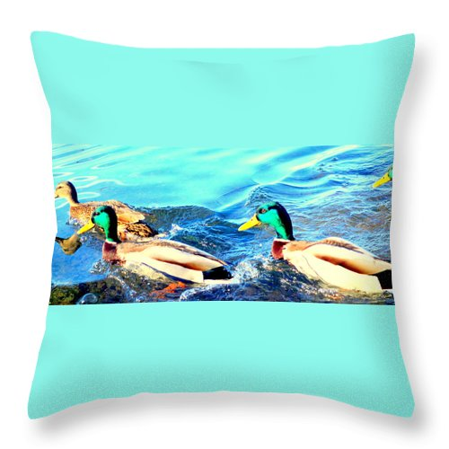 Swim Throw Pillow featuring the photograph Some Ducks Are Just Happily Swimming With Their Team by Hilde Widerberg
