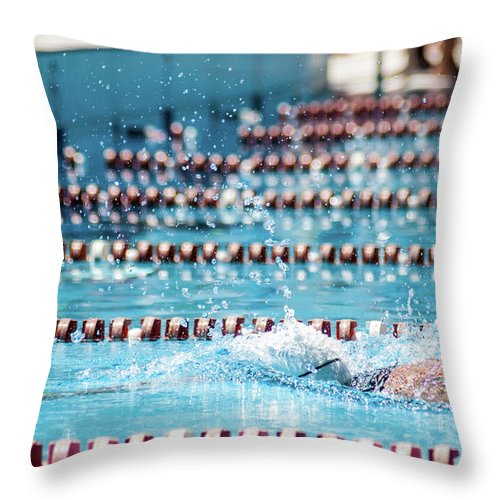 Udine Throw Pillow featuring the photograph Swimmer In A Sport Pool by Bosca78