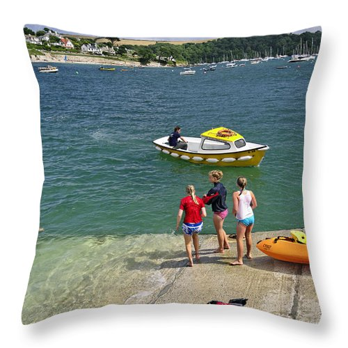Britain Throw Pillow featuring the photograph Swimmers On The Slipway - St Mawes by Rod Johnson