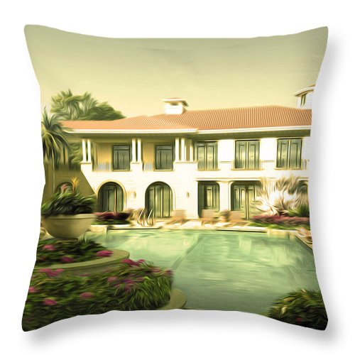 Hotel Throw Pillow featuring the painting Swimming Pool In Luxury Hotel by Jeelan Clark