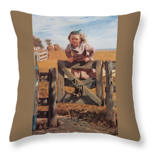 John Brown Throw Pillow featuring the digital art Swinging On A Gate by John Brown