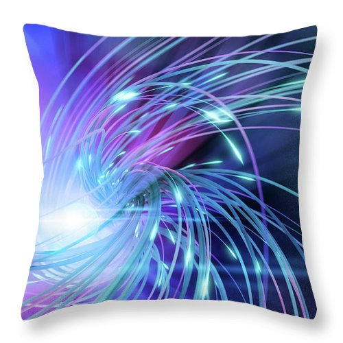 Curve Throw Pillow featuring the digital art Swirl Of Lines With Glowing Ends by Maciej Frolow