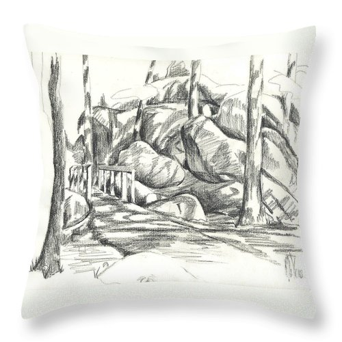 Swirling Cast Shadows At Elephant Rocks No Ctc101 Throw Pillow featuring the drawing Swirling Cast Shadows At Elephant Rocks No Ctc101 by Kip DeVore