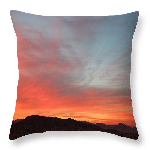 Sunset Throw Pillow featuring the photograph Swirly Sunset by Valerie Loop