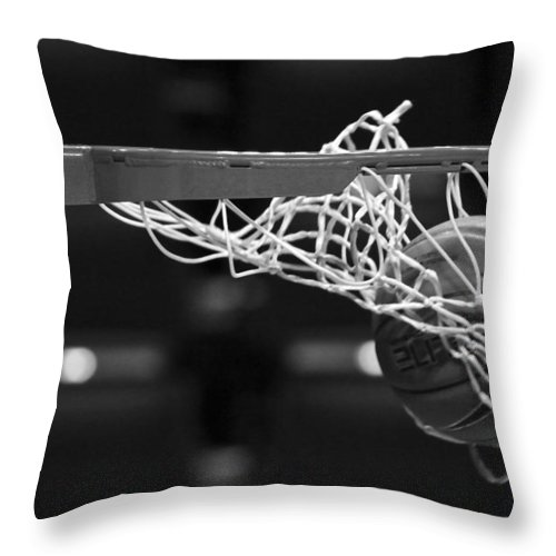 Monochrome Throw Pillow featuring the photograph Swish by Laddie Halupa