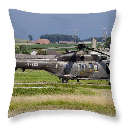 Payerne Throw Pillow featuring the photograph Swiss Air Force Eurocopter Cougar by Timm Ziegenthaler